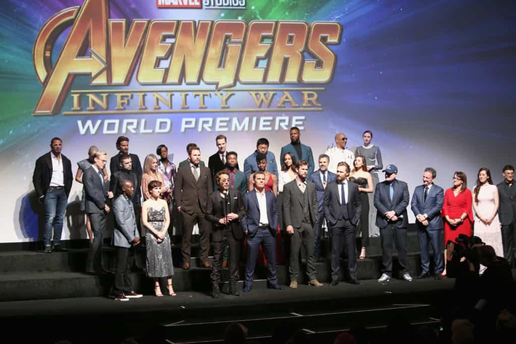 All the stars of Avengers: Infinity War on stage for the red carpet premiere
