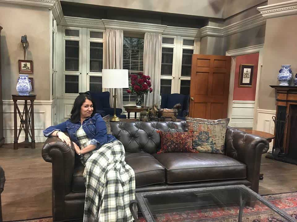Sitting on the couch at the Quatermaine's house from General Hospital.