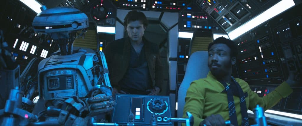 L3-37 and Lando in the Millennium Falcon
