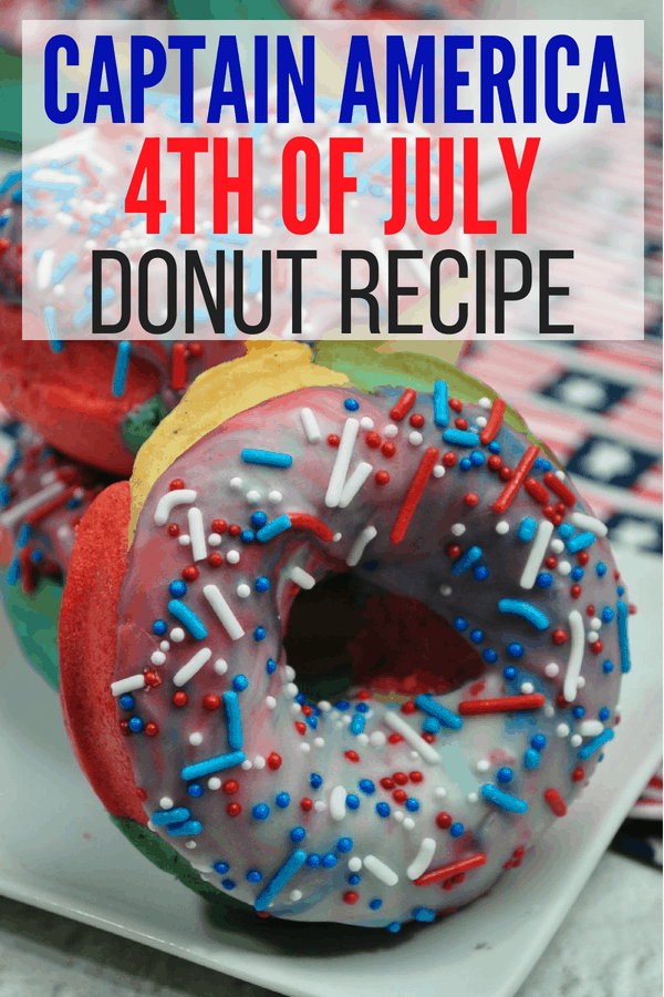 Make your own red, white, and blue donuts for the 4th of July! It's a great Memorial Day or 4th of July patriotic dessert and breakfast recipe. Also works as Captain America donuts for your Avengers parties!