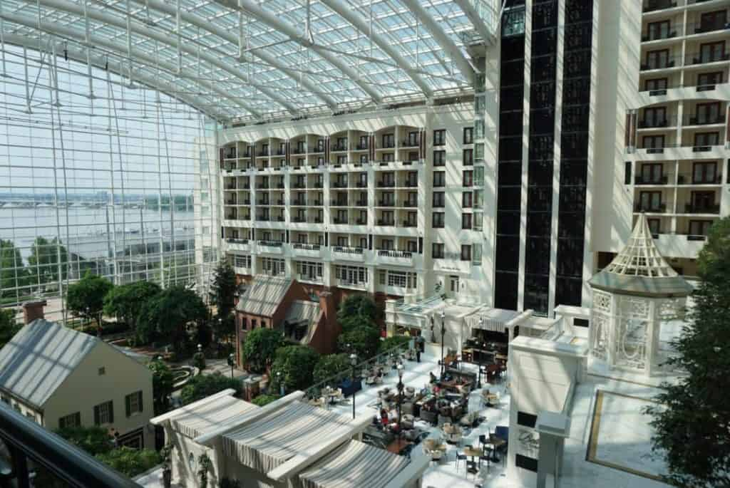 View of the atrium from a Gaylord National Harbor hotel room.