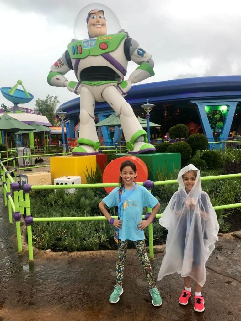 Toy Story Land in the rain.