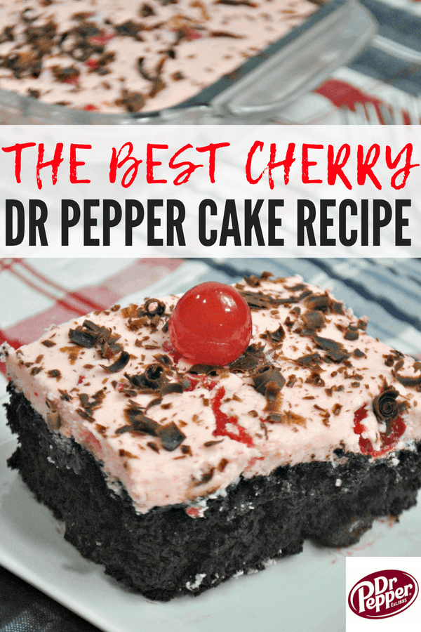 The Best Cherry Dr Pepper Cake Recipe! This Dr Pepper Cake is easy to make and the perfect summer dessert for parties and picnics! Easy recipe for kids, too!