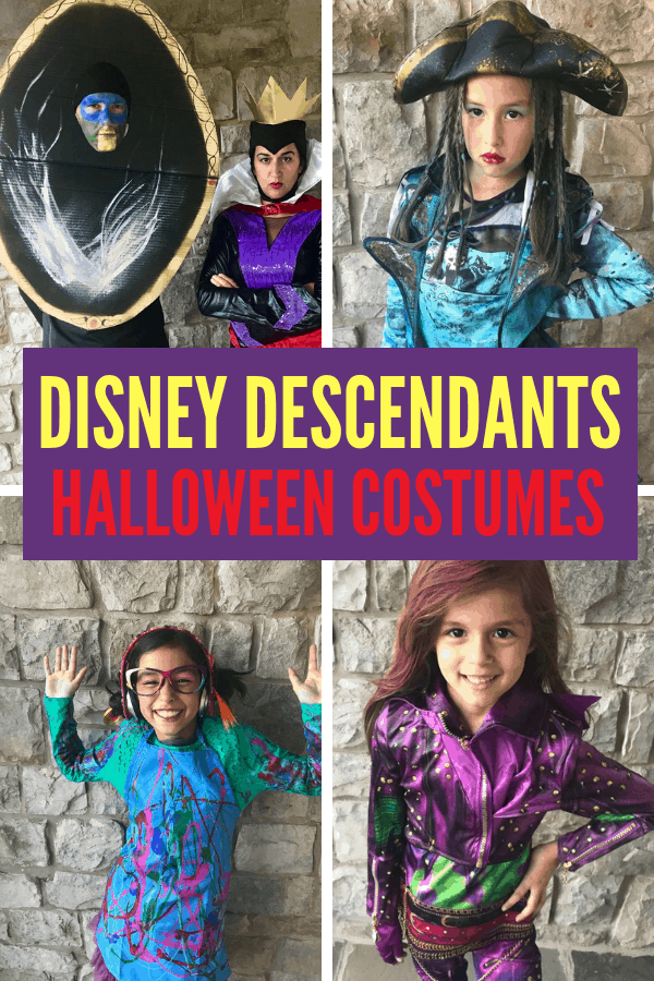 Make your own Family Disney Descendants Halloween Costumes! DIY Dizzy costume from Descendants 2 and Magic Mirror from a cardboard box!