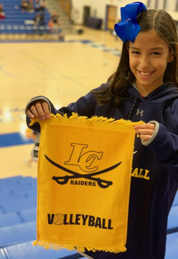 Custom Ink towels with Loudoun County Volleyball logo