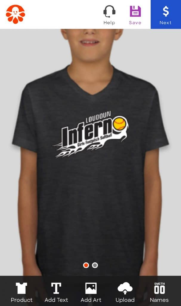 Design Custom Ink Shirts with your team's logo
