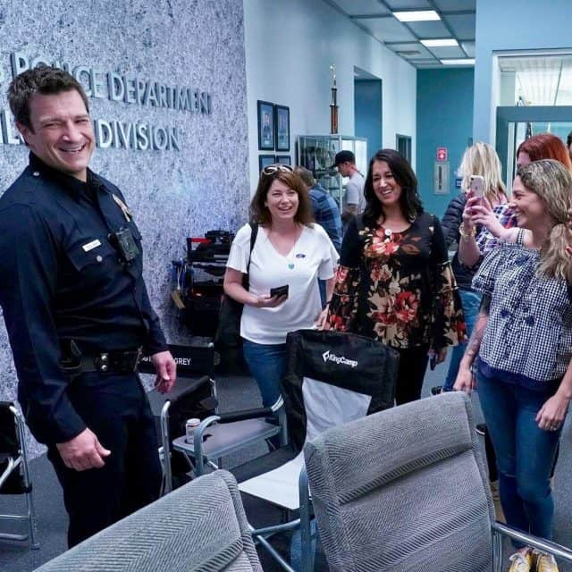 On set of The Rookie with Nathan Fillion