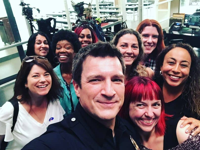 Nathan Fillion selfie on the set of The Rookie