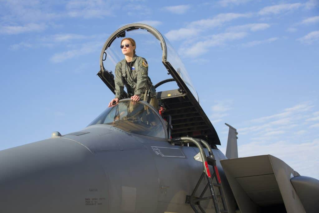Carol Danvers as a pilot in the Captain Marvel movie
