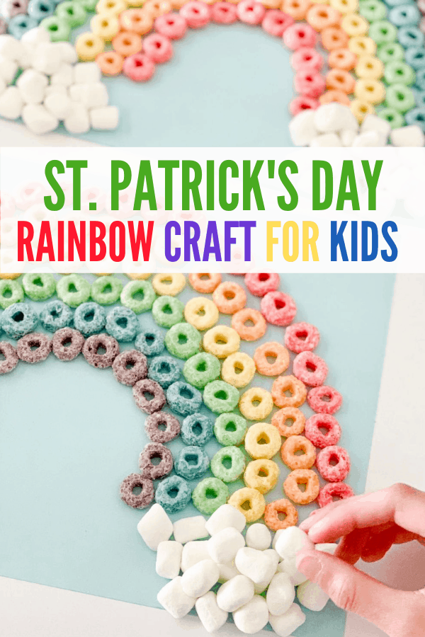 Try this easy Rainbow St. Patrick's Day craft for kids! It's edible or you can use glue for a keepsake craft for kindergarteners and preschoolers. Also, the best tip on how to make pretty cereal rainbows without a template!