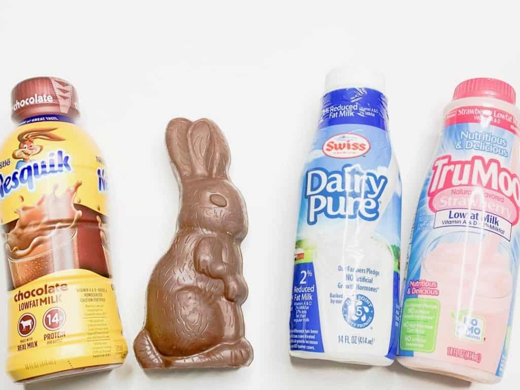 Taste test of which flavor milk is better inside a chocolate bunny.