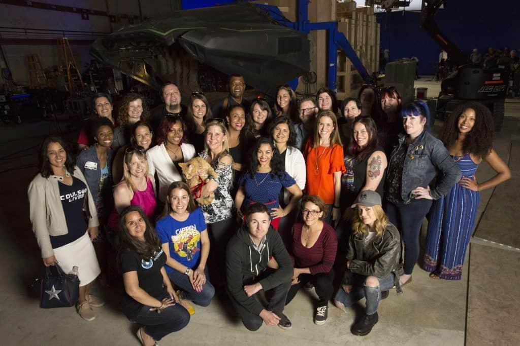 Captain Marvel Set Photo Group Photo with Brie Larson