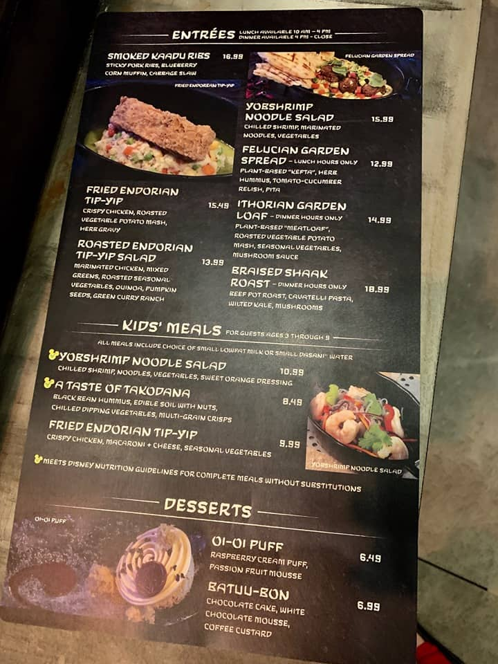 Docking Bay 7 Menu - where you can the best and worst food in Galaxy's Edge