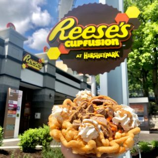 New fundae (funnel cake and sundae) at Hershey Park