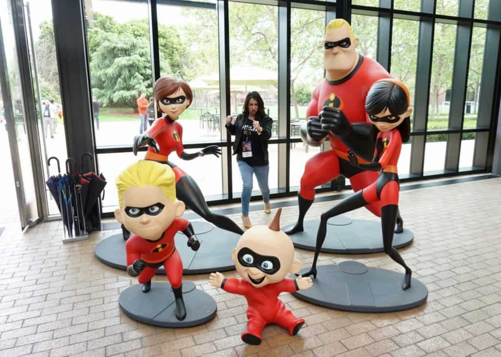 The Incredibles in Steve Jobs Building at Pixar Studios