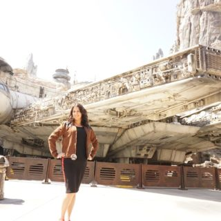 Photo op in front of Millennium Falcon in Galaxy's Edge