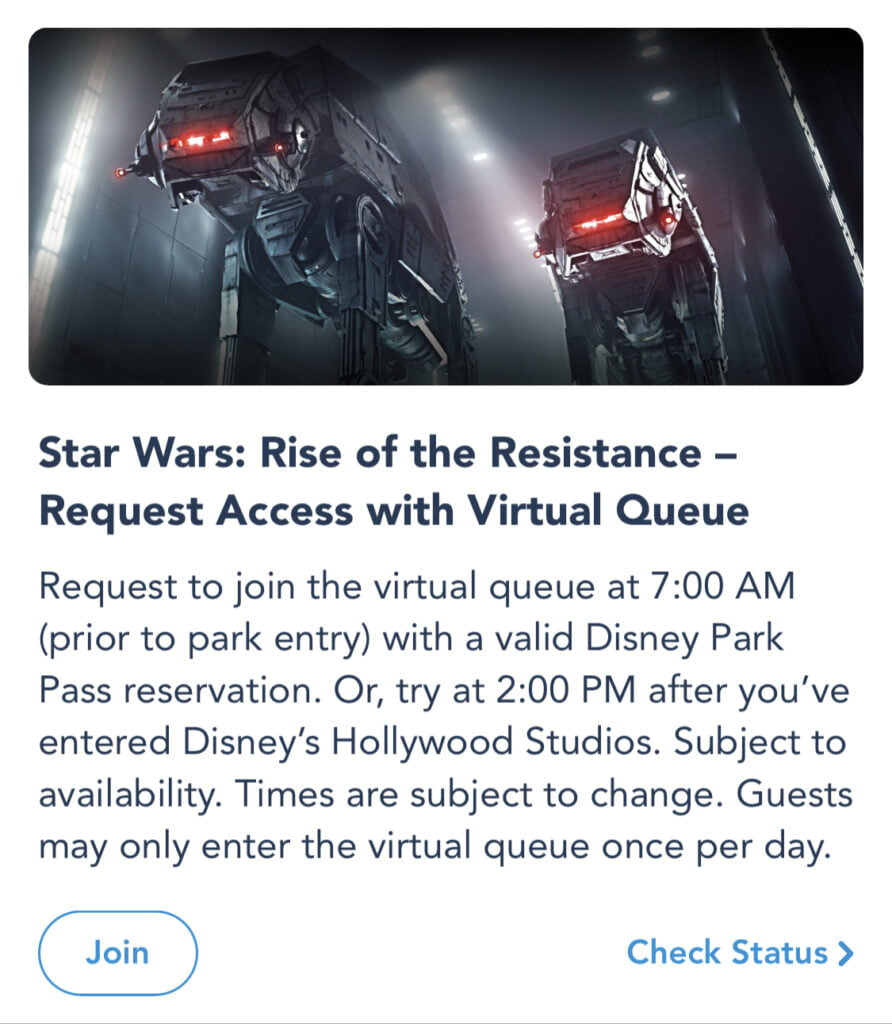 Rise of the Resistance Virtual Queue Tips