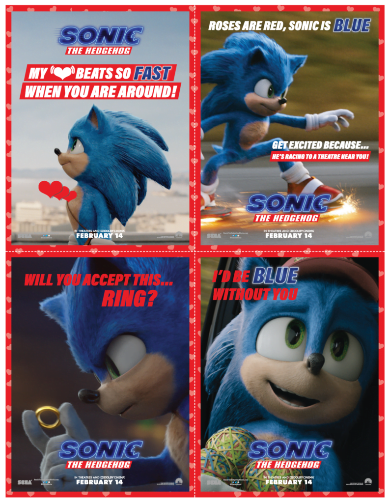 Free Sonic the Hedgehog Printable Valentines Cards