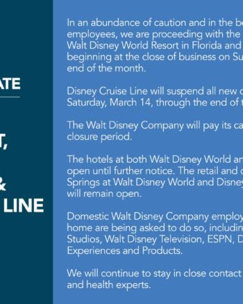 Walt Disney World Closes for Coronavirus