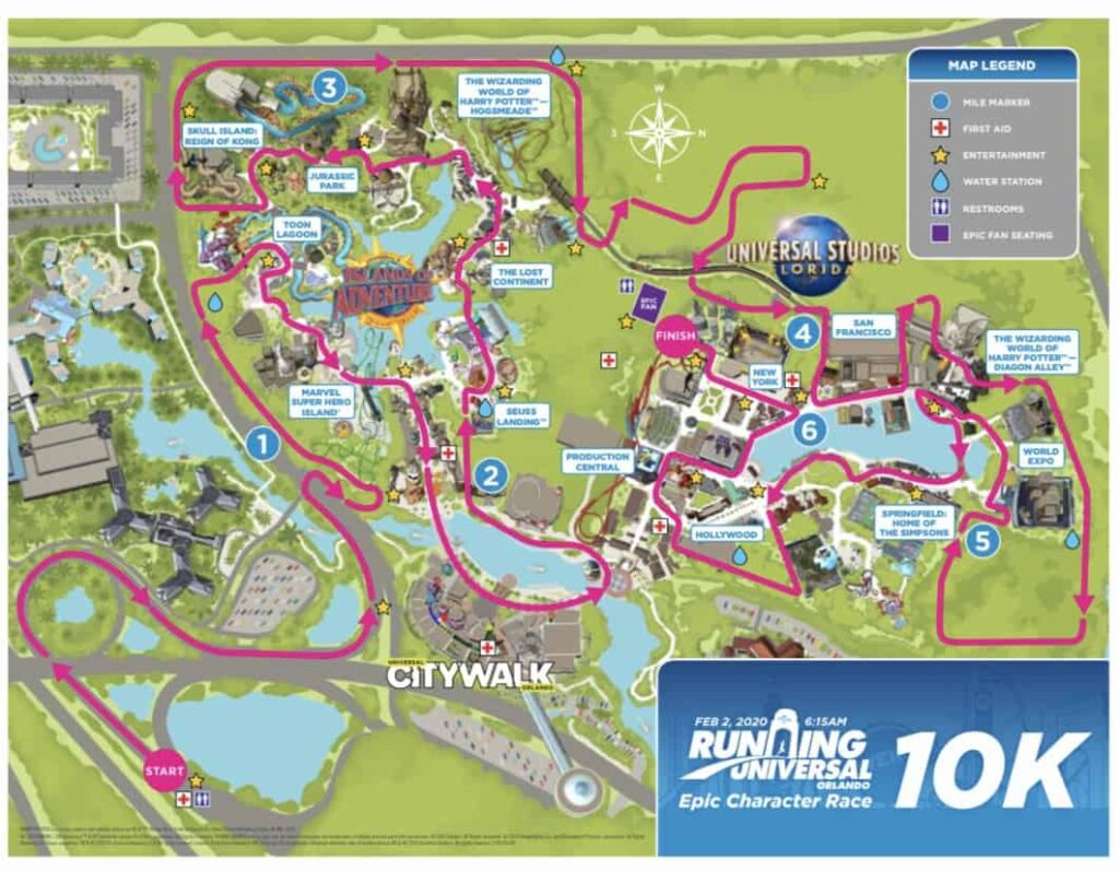 Universal Epic Character 10K Course Map