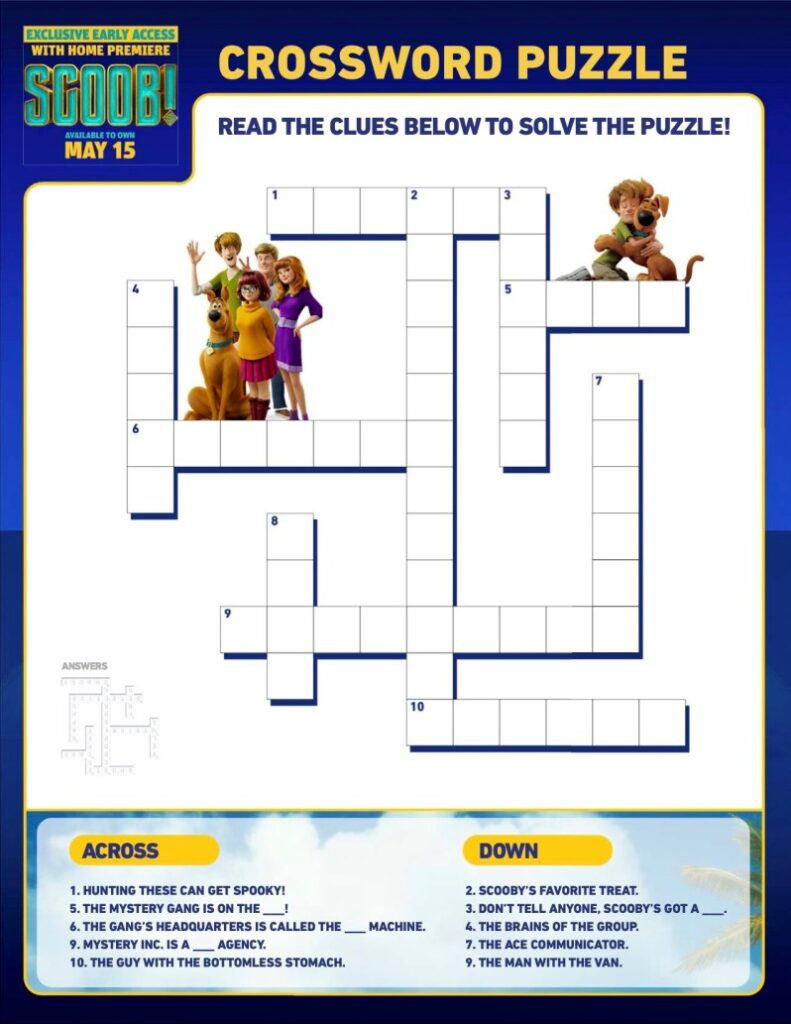 Scoob Activity Crossword Puzzle