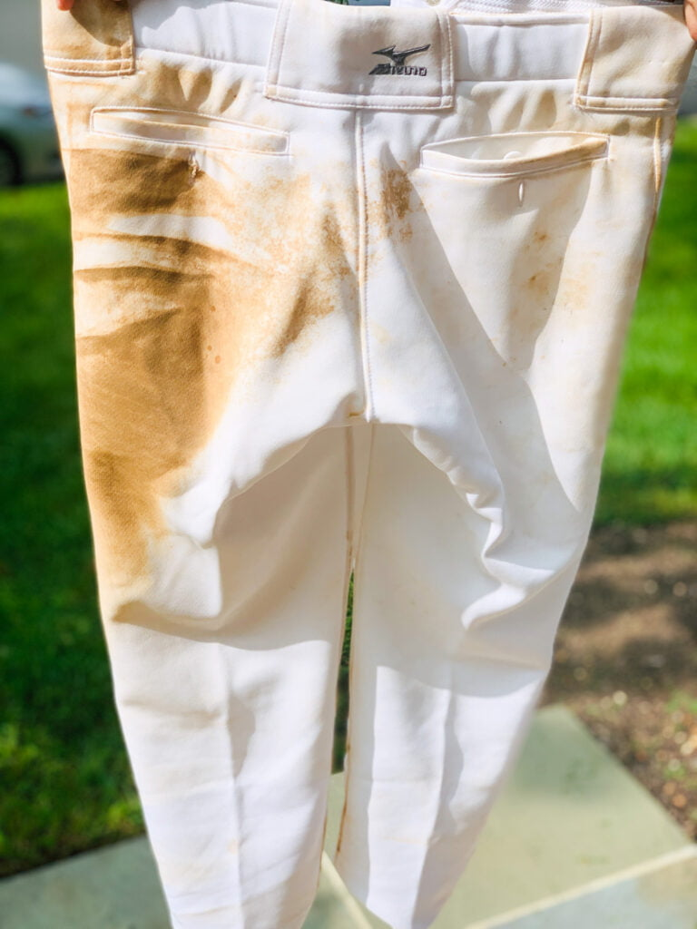 How to clean white softball pants.