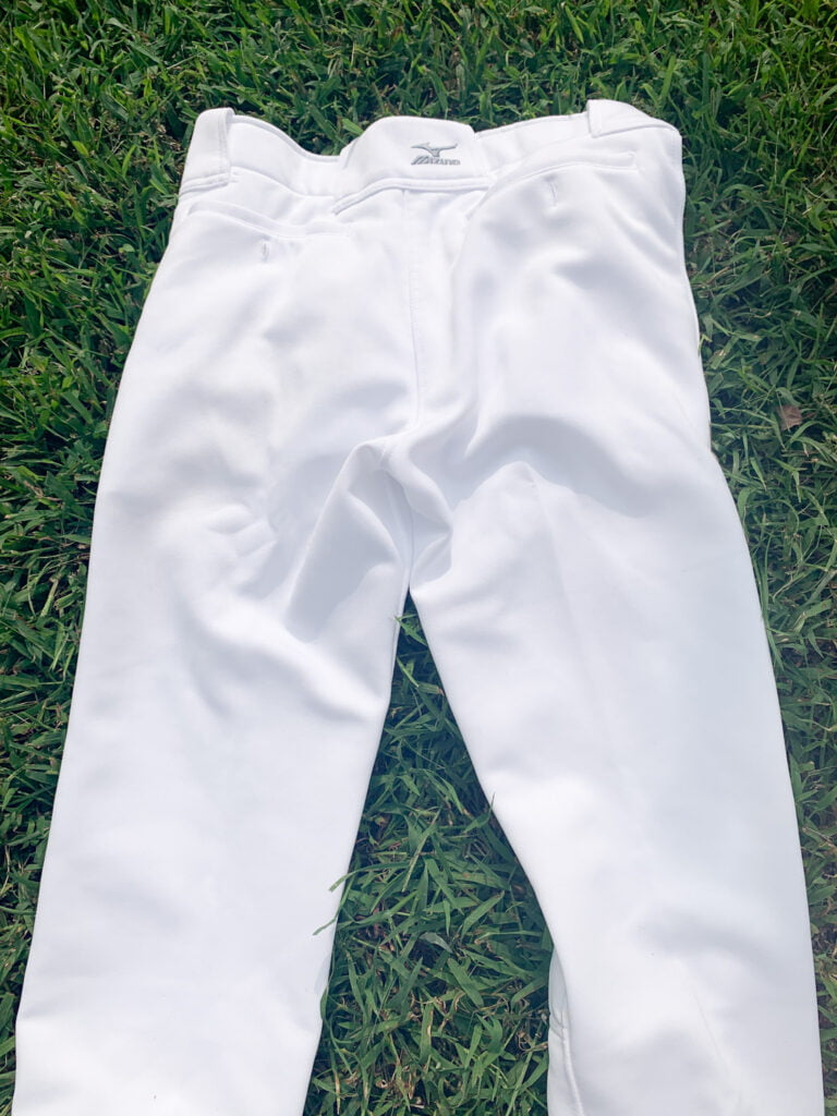 Clean white softball pants