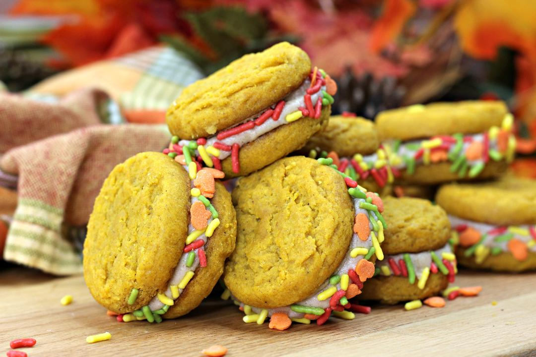 Pumpkin Spice Sandwich Cookies with Sprinkles