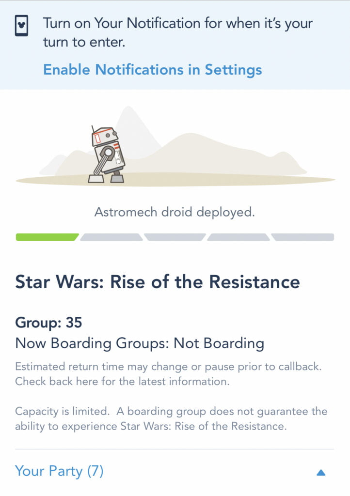 Rise of the Resistance Boarding Group notification