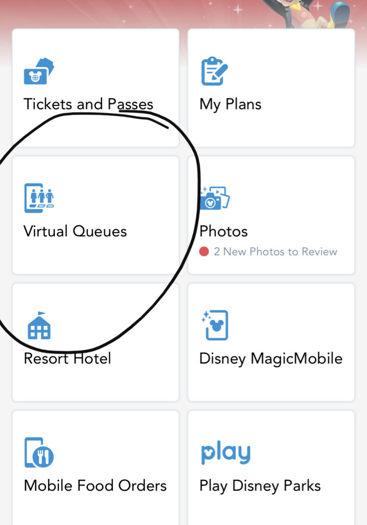 My Disney Experience App homepage Rise of the Resistance
